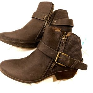 Brown buckle ankle booties. NWOT. Size 7.5